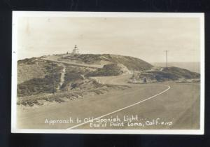 RPPC POINT LOMA CALIFORNIA OLD SPANISH LIGHTHOUSE ROAD REAL PHOTO POSTCARD