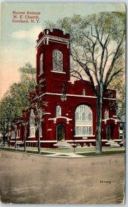 Cortland, New York Postcard Homer Avenue M.E. Church Street View 1916 Cancel