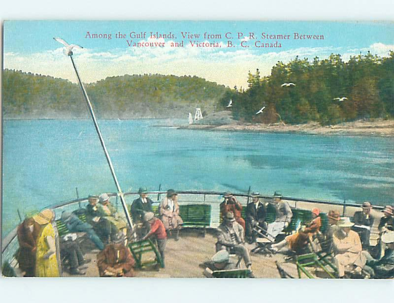 Unused Divided-Back CPR STEAMER BOAT AT GULF ISLANDS Victoria BC o0739-22