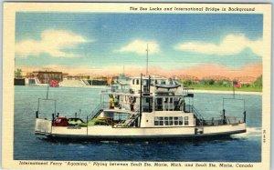 Sault Ste Marie MI Postcard International Ferry AGO MING Intl Bridge View Line
