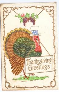 Patriotic Turkey Uncle Sam Top Hat Embossed Gilded Vintage Thanksgiving Postcard