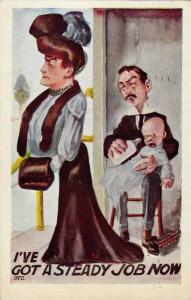 Man sitting on stool bottle feeding crying baby and woman walks away, I've go...