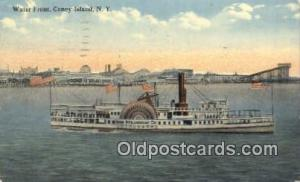 Water Front, Coney Island, New York NY USA Steam Ship 1915 creases left edge,...