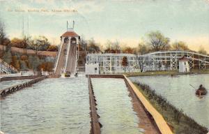 Kansas City MO NICE Roller Coaster~Shoot the Chutes~Rowboat~Steps RPPC 1910 PC