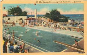 1946 Pacific Grove California Municipal Swimming Pool White Teich postcard 10001