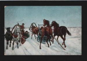 077788 RUSSIAN Types on HORSE by KOVALEVSKY vintage PC