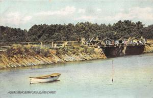 26164 MA, Onset, 1909, Fishing fromDummy Bridge, boats along shore