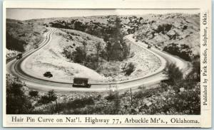 Oklahoma Arbuckle Mtns RPPC Real Photo Postcard Hairpin Curve Natl Highway 77
