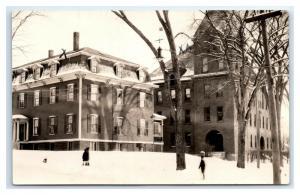 Postcard School in New Hampshire NH in Winter Snow RPPC I12