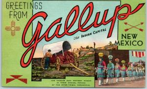 1940s GALLUP New Mexico Big Letter Postcard Covered Wagon / Indian Capital Linen