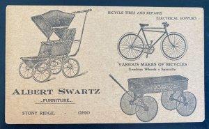Mint USA Advertising Postcard Albert Swartz Bicycles & Repairs Stony Ridge OH