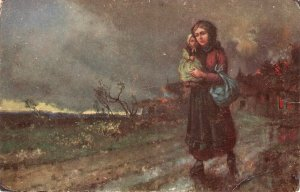 J. Poitier. Mother with baby. Heimatlos Fine art, painting, vintage German PC