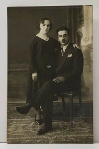 RPPC 1920s European Couple Studio Portrait A Mnaxae Studios Postcard G4