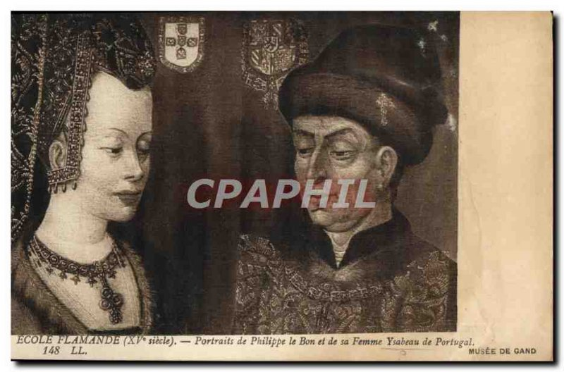 Postcard Old Flemish School Potraits of Philip the Good and his wife Ysabeau ...