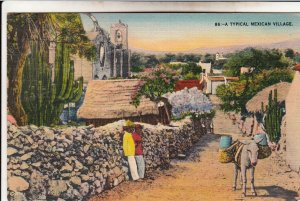 P1958 vintage postcard peaceful colorful typhical mexican village donkey unused