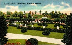 Vtg 1930s Sunken Gardens Longwood Near Wilmington Deleware DE Unused Postcard