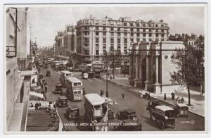 London, United Kingdom, Early View of Marble Arch and Oxford Street