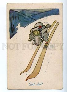 187429 NEW YEAR Skiing SANTA CLAUS by JANSSON Vintage ART DECO