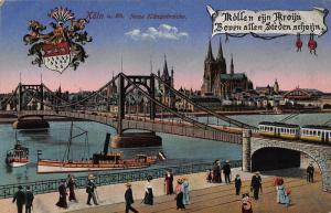Koln am Rhein Neue Hangebrucke Bridge River Boats Esplanade Cathedral Postcard