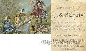J&P Coats Trade Card Approx Size Inches = 2.75 x 4 Unused trimmed