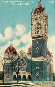 Portland Oregon~First Congregational Church~1910 Postcard