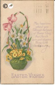 Vintage Postcard Easter Basket with Citrus Yellow Pansies, and White Daffodils