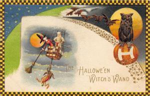 Halloween Flying Witch's Wand Owl Bats Winsch Rare Embossed Postcard