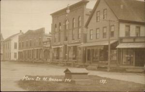 North Anson ME Main Street c1910 Real Photo Postcard
