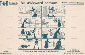 French Maid Awkward Servant Training Antique Comic France Old Postcard