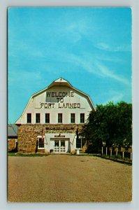 Larned KS- Kansas, Fort Larned, Enlisted Men's Barracks, Chrome Postcard