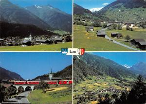 Switzerland Lax Wallis Road Auto Car Bridge Train Panorama Mountains