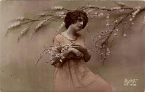 RP; Hand-colored, Woman wearing pink dress holding white flowers, 10-20s