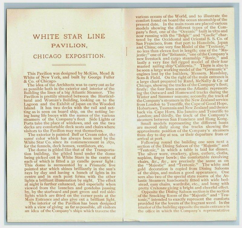 1893 World's Fair Folder White Star Line RMS Teutonic & Majestic 7J