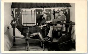 Tijuana, Mexico RPPC Real Photo Postcard 2 Older Men Studio Stuffed Donkey 1940s