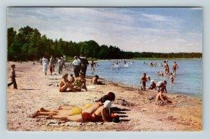 Menominee MI, Henes Park, Beach, Lake, Sun Bathing, Chrome Michigan Postcard