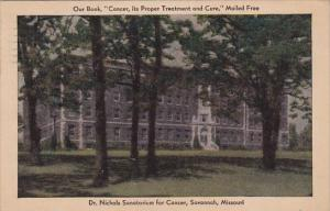 Missouri Savannah Dr Nichols Sanatorium For Cancer 1933