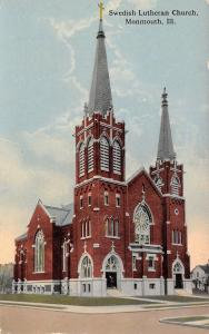 Monmouth Illinois~Swedish Lutheran Church~Twin Steeples~Red Brick~1908 Postcard