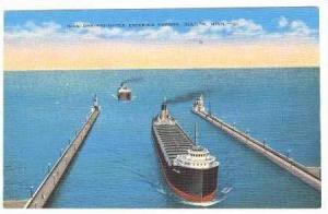 Iron Ore Freighter Entering Harbor, Duluth, Minnesota, 1930-1940s