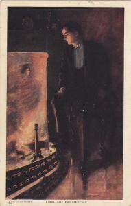 Man imagining woman's face in flames of fireplace, Firelight Fancies, PU-1910