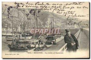 Old Postcard Menton Garavan La Jetee and Yacht Sailing