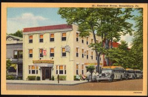 Pennsylvania ~ American House STROUDSBURG with older buses - LINEN