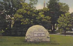 Boulder And Dogwood Tree At Irvin S. Cobb's Grave, Paducah, Kentucky, 30-40s