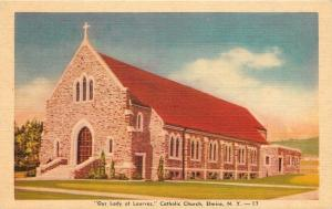 Elmira New York~Our Lady of Lourves Roman Catholic Church~1940s Linen PC