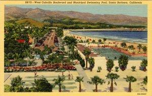 CA - Santa Barbara. West Cabrillo Blvd. & Municipal Swimming Pool