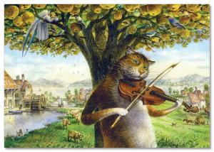 CAT & Angel on Tree Love melody Violin Fantasy Russian Unposted Postcard