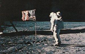 APOLLO 11 MOON LANDING, EDWIN E. ALDRIN JR. next to U.S. Flag, 1969