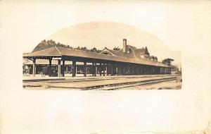 Palmer MA Train Station Train Depot Real Photo Postcard