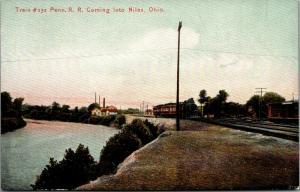 Niles Ohio~Pennsylvania Railroad~Train Locomotive #232 Arrives at Niles~PRR~1910