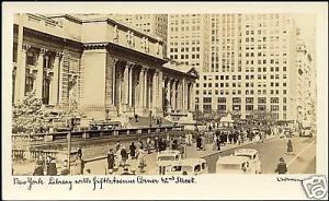 New York, LIBRARY, 50th Ave Corner 42nd Street 30s RPPC
