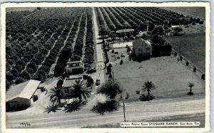 San Juan, Texas Postcard Aerial View STUGARD RANCH Orange Grove / House c1950s